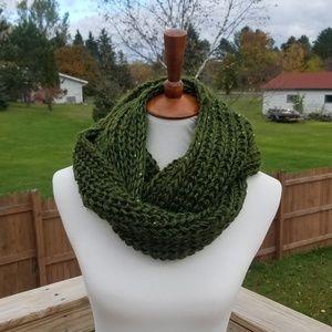 Olive Sparkley Knit Infinity Scarf
